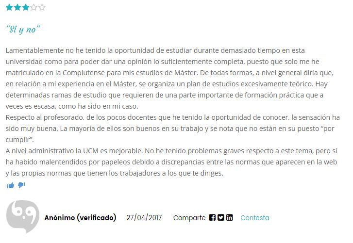 Opinion Universidad Complutense de Madrid