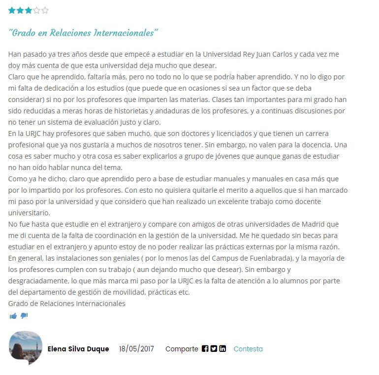 Opinion Universidad Rey Juan Carlos