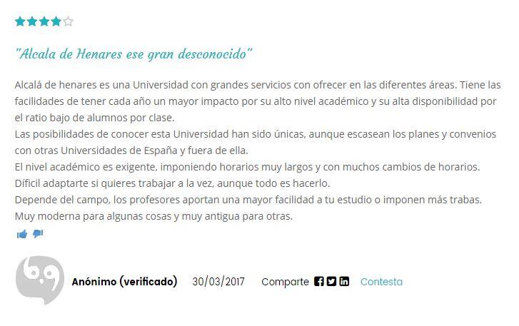 Opinion Universidad de Alcala de Henares