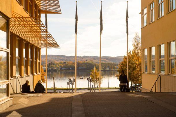 Jönköping university students enjoying time on campus
