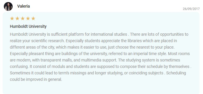 EDUopinions review Humboldt University Berlin 2