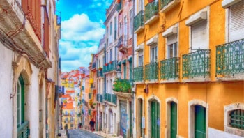Portuguese street with colourful houses