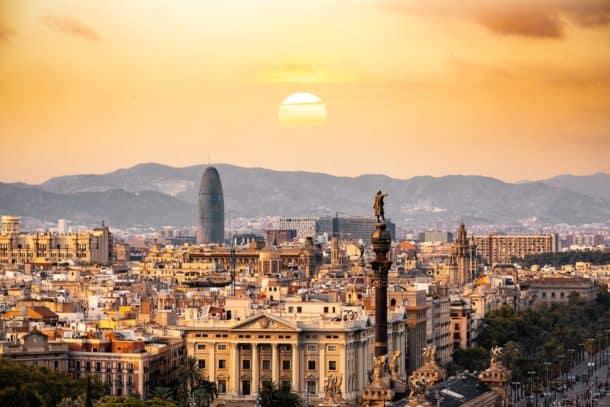 Barcelona skyline and mountains