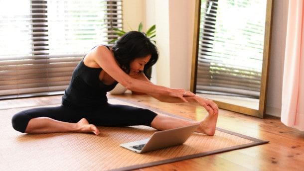 Student practicing Yoga
