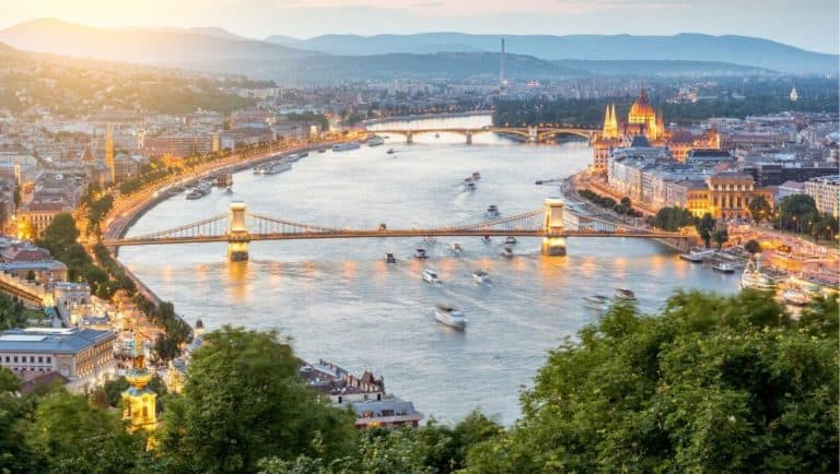 View of Buda and Pest and the Danube River